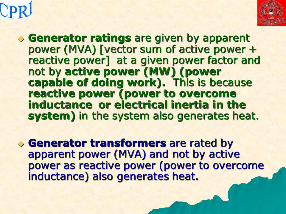 Generator ratings are given by apparent power (MVA) [vector sum of active power + reactive power] at a given power factor and not by active power (MW) (power capable of doing work). This is because reactive power (power to overcome inductance or electrical inertia in the system) in the system also generates heat.